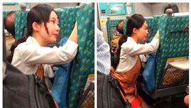 這畫面超美!乘客搭車狂哭 正妹乘務員「跪地」一小時安撫。(圖/取自爆料公社二社)