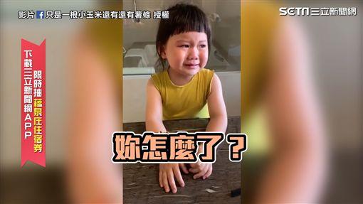 ▲米醬對著鏡頭哭哭啼啼地控訴:「為什麼要一直拍我?」原來是米醬想要媽媽的結婚戒指。(圖/只是一根小玉米還有還有薯條 授權)