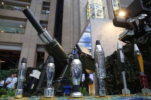台北國防工業展 軍方展出新型迫砲彈台北國防工業展14日登場,現場也展出由軍備局研製的新型迫砲彈。中央社記者游凱翔攝 108年8月14日