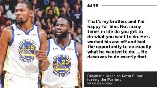 NBA/KD轉隊 格林:他是我兄弟NBA,金州勇士,Kevin Durant,受傷,Draymond Green翻攝自推特