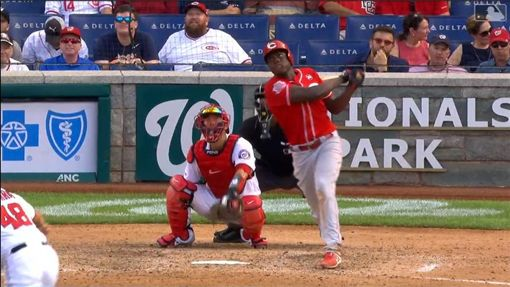 ▲紅人新秀阿奇諾(Aristides Aquino)生涯前14戰敲9轟,大聯盟1900年後第1人。(圖/翻攝自MLB官網)