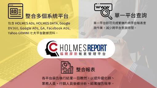 「HOLMES Report」三大優勢:1.整合多個DSP & DMP系統平台2.單一平台查詢3.整合報表