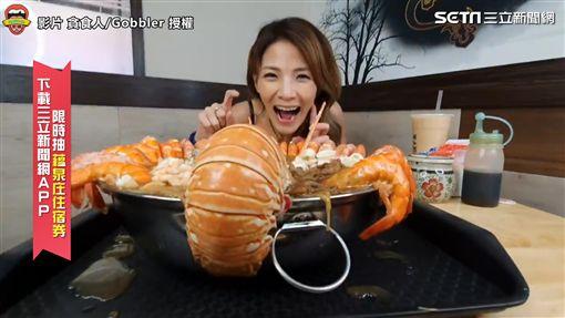 ▲邵阿咩請老闆特製一份「5公斤巨無霸龍蝦組合麵線」。(圖/貪食人/Gobbler 授權)
