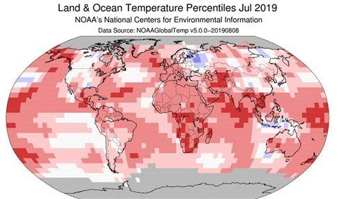 美國國家海洋暨大氣總署,7月,最炎熱月分,高溫紀錄,酷熱
