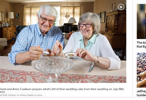 美國,結婚,蛋糕,夫妻,冷凍https://nypost.com/2019/08/14/this-couple-has-been-eating-their-wedding-cake-for-nearly-50-years/
