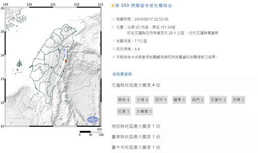 中央氣象局地震報告,地震報告,中央氣象局,地震,花蓮 圖/中央氣象局