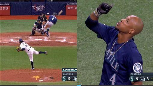 ▲水手布朗斯頓(Keon Broxton)躲過頭部危險球下一秒『謝天』。(圖/翻攝自MLB官網)