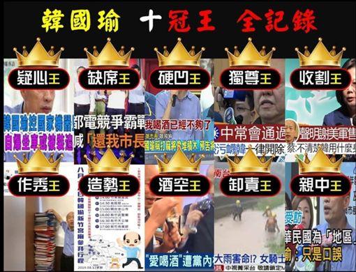 韓國瑜十冠王,「抓到了!這梗很綠」臉書
