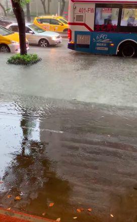 中山區淹水。