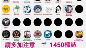 臉書粉專「台灣迷因」PO出在韓粉社團間流傳的「1450網軍圖」,臉書
