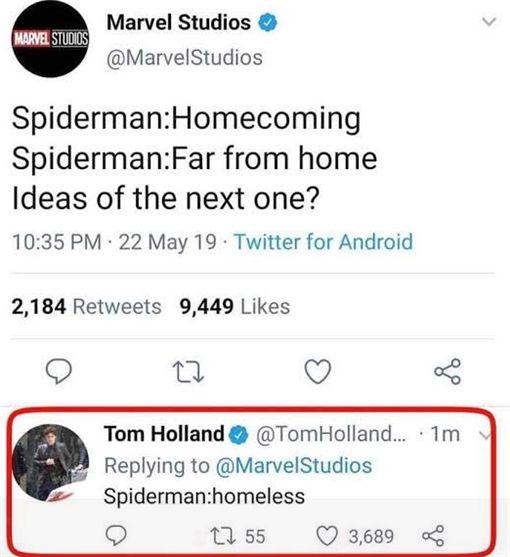 蜘蛛人湯姆霍蘭德(圖/翻攝自推特)