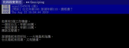 台北,澎湖,年薪,選擇,PTT 圖/翻攝自PTT
