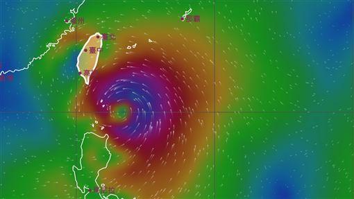 白鹿颱風風場預測圖/氣象局