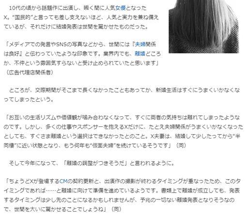 日媒爆料人氣女星將離婚 圖/cyzowoman