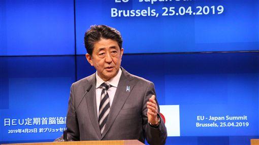 安倍談一帶一路 指中應尊重合作國家日歐領導人峰會今天登場,日本首相安倍認為中國「一帶一路」倡議除應對國際有貢獻,更應尊重並滿足合作國家的財政健全性等。中央社記者唐佩君布魯塞爾攝 108年4月26日