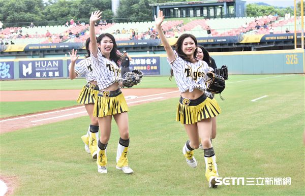 阪神虎啦啦隊「Tiger Girls」開球秀,與球迷同歡。(圖/記者王怡翔攝影)