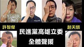 民進黨高雄十名立委均響應拍下手遮右眼的相片,力挺香港反送中運動。(圖/翻攝管碧玲臉書)