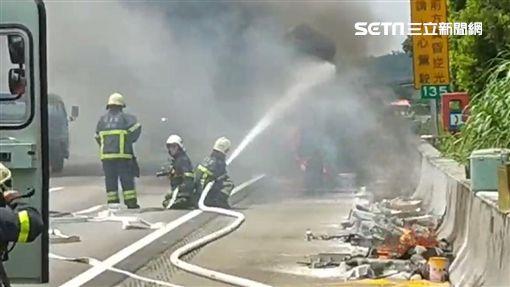 苗栗,國道,火燒車,工程車