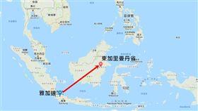 (16:9)印尼,佐科威,新首都,北佩納揚巴塞爾縣,庫台卡塔內加拉縣,境內(圖/Google地圖)