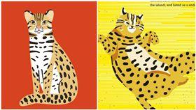 比較圖,(左)為俄國設計的石虎,(右)為觀光局新設計的石虎。(合成圖/翻攝自臉書)