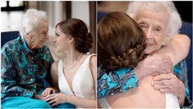 沒時間等到婚禮!新娘帶白紗飛去找102歲奶奶 拍下最後揪心合影(圖/翻攝自Tara Foley臉書)