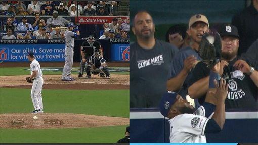 ▲貝林傑(Cody Bellinger)43號全壘打被教士中外野手馬格特(Manuel Margot)美技沒收。(圖/翻攝自MLB官網)