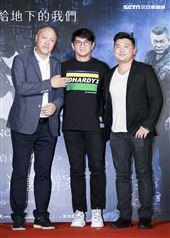《第九分局》首映會,監製王鈞、導演王鼎霖、觀影嘉賓吳奇隆。(圖/記者林士傑攝影)