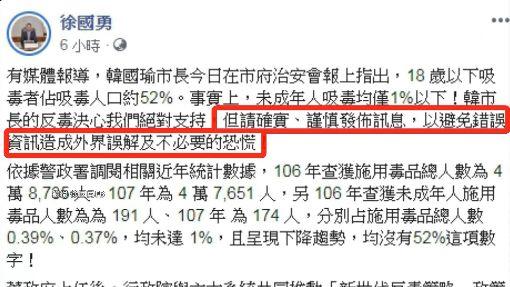 韓稱未成年吸毒占52% 徐國勇打臉:不到1%