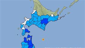 北海道外海6.1地震!深度僅十公里 函館震度3級 圖翻攝自日本氣象廳