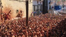 西班牙,布尼奧爾鎮,番茄大戰,吸引,觀光客(圖/twitter.com/LaTomatinaInfo)