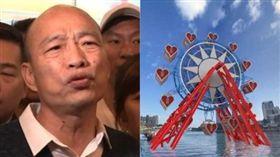 高雄市長韓國瑜,去年選舉時承諾興建「愛情摩天輪」。(組合圖/資料照)