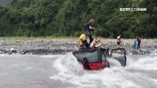 溪邊玩水遇暴漲! 「5人+吉普車」受困溪中