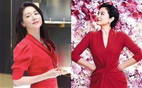 48歲李英愛上海出席品牌活動/被讚是「韓版林青霞」。微博
