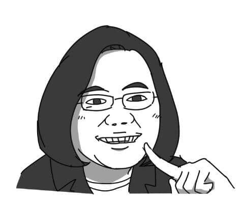 網紅插畫家「人類超有病Baxuan」的圓版小英。(圖/翻攝「人類超有病Baxuan」臉書)