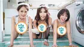 陳香菱(右)率網美謝夏天(左)、Q匠(中)趴著擀麵棍。(圖/陳香菱提供)