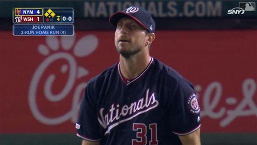 ▲薛澤(Max Scherzer)6局投球挨了1轟丟掉4分。(圖/翻攝自MLB官網)