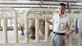 兩人距離餵食犀牛、溫柔刷背。(圖/蝦皮購物提供)