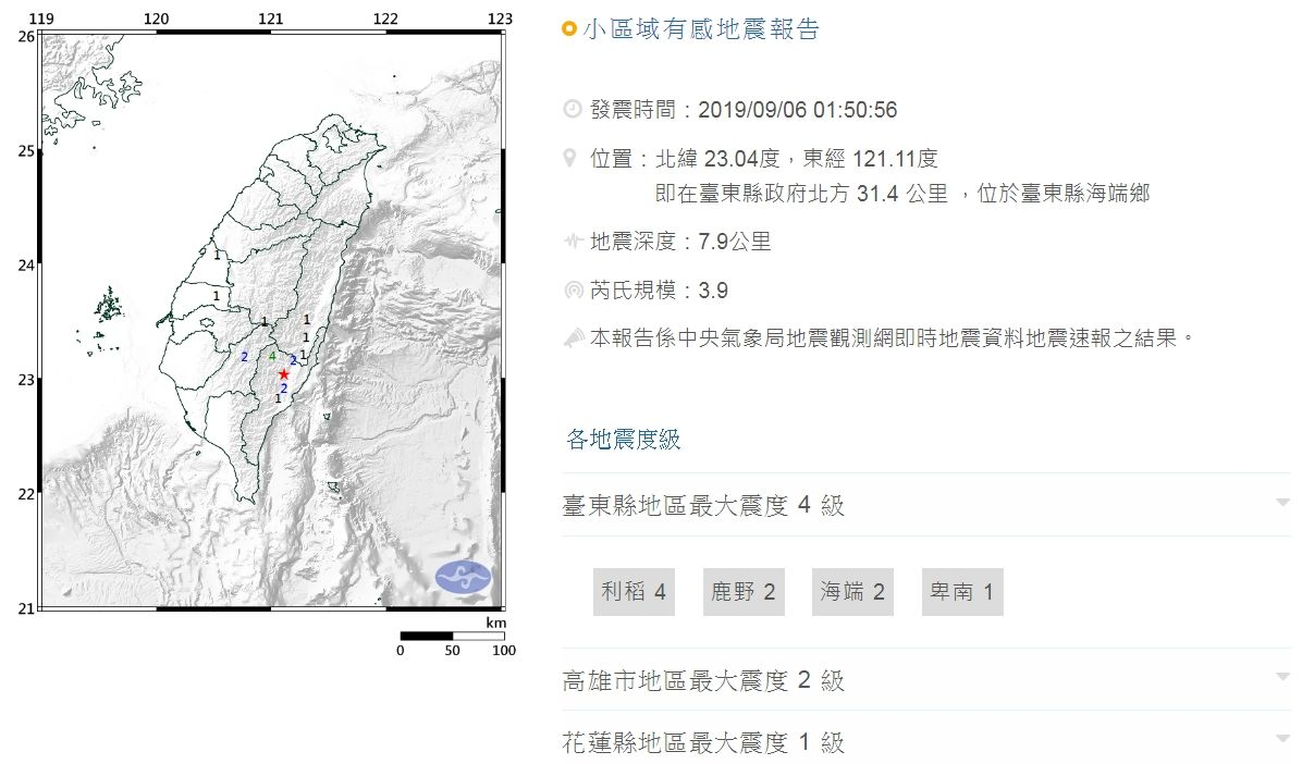 0906凌晨台東地震_氣象局