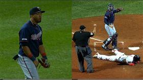 ▲雙城外野手羅沙里歐(Eddie Rosario)神回傳觸殺紅襪追平分。(圖/翻攝自MLB官網)