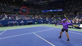 美網/太神啦!納達爾將球打上轉播間 美網,Rafael Nadal,特技 翻攝自推特