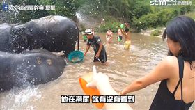 池塘中工作人員幫忙撈大象排泄物。(圖/欸你這週要幹嘛臉書授權)