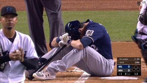 ▲戰前東家馬林魚,葉立奇(Christian Yelich)自打球中右膝傷退。(圖/翻攝自MLB官網)