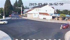 男闖馬路遭撞飛!天才狗「現場教學」…網笑翻:這是高級酸(圖/翻攝自微博)