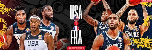 ▲世界盃8強賽美國對法國。(圖/取自FIBA官網)
