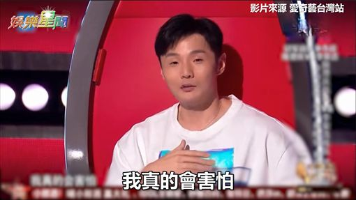 李榮浩與哈林見邢晗銘抬頭眼神表示害怕。(圖/翻攝愛奇藝台灣站)