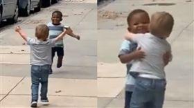 2天沒見男童狂奔相擁 網讚最純友誼(圖/翻攝自Michael D Cisneros臉書)