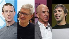 美國聯邦眾議院司法委員會13日要求祖克柏(左1)、庫克(左2)、貝佐斯(右2)和佩吉等人呈交過去10年關於收購案的內部電郵。(左起圖取自祖克柏臉書、中央社檔案照片、貝佐斯IG、佩吉IG)