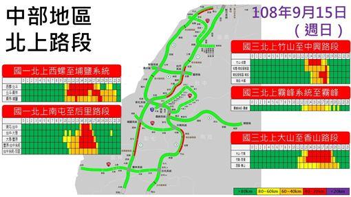 中秋連假最後一天塞車路段預估。(圖/高公局提供)