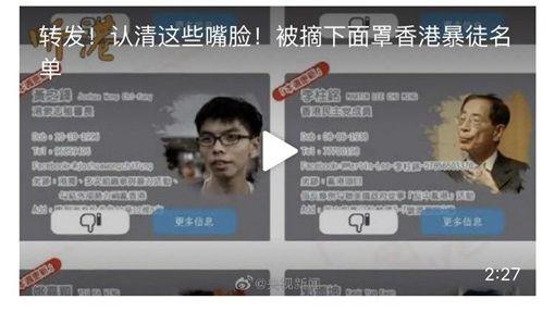 香港解密,反送中,個人資料,央視,鼓勵轉發(央視微博)