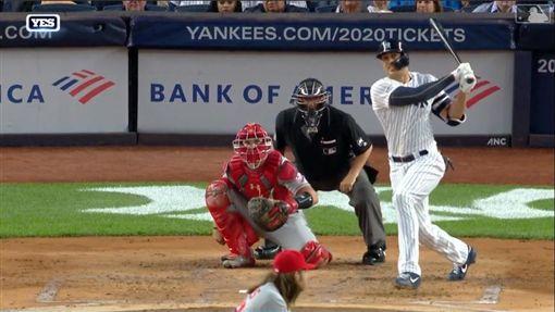 ▲史坦頓(Giancarlo Stanton)回歸敲二壘打。(圖/翻攝自MLB官網)